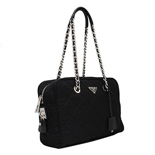 Tessuto Nylon Handbag (Prada Tessuto Impuntu Bauletto Quilted Nylon Chain Shoulder Bag BL0903, Black / Nero)