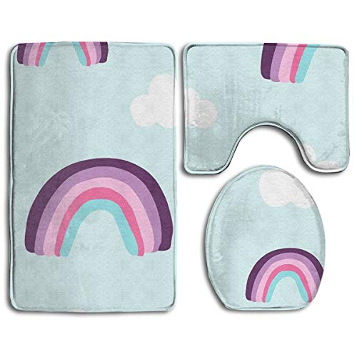 Rainbow Pattern Bathroom Rug Sets 3 Piece Non-Slip Floor Mat Contour Rug Toilet Lip Cover for $<!--$33.50-->