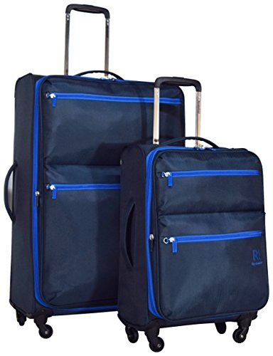 Revelation! Weightless D4 Pro 2-Piece Softside Expandable Upright Spinner Luggage Set: 30'' and 20'' (Navy) by Revelation