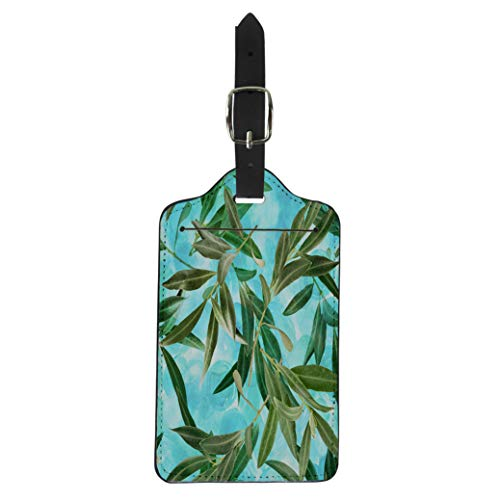 Semtomn Luggage Tag Blue Agriculture Olive Tree Branches on Vibrant Teal Green Suitcase Baggage Label Travel Tag Labels