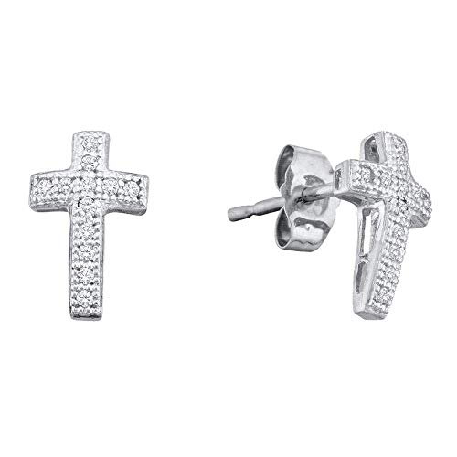 - Jewels By Lux 10kt White Gold Womens Round Diamond Cross Cluster Earrings 1/10 Cttw In Pave Setting (I2-I3 clarity; J-K color)