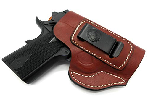 HOLSTERMART USA Right Hand IWB AIWB Inside Pants Clip-On Concealment Holster in Brown Leather for Any Nonrail 1911 with 3