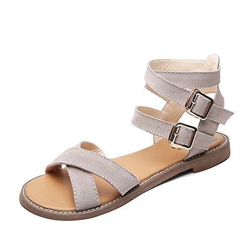 Beige De Y color 5 Flat Negro Tamaño Suave Summer Mujer uk6 Antideslizantes cn40 Opcional Feifei Eu39 Zapatos Negro Sandalias Casual Bottom Cómodo Marrón FxwqOq0
