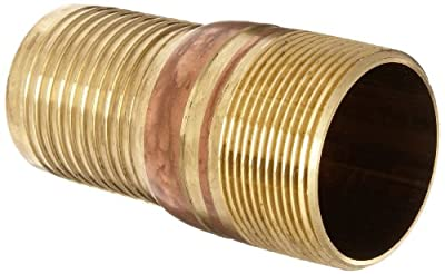 Dixon BST Series Brass Hose Fitting, King Combination Nipple Threaded End with No Knurl, NPT Male x Hose ID Barbed