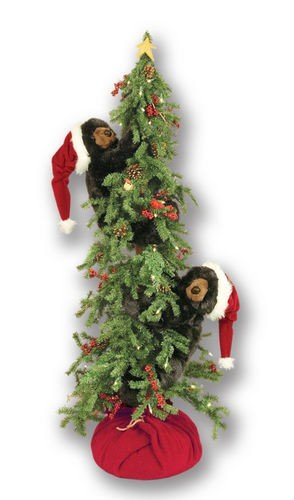 Queens of Christmas WL-70304-DZ Decorative Berry Christmas Tree with 2 Frolicking Bear ()