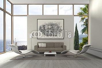 Holz 3mm Bild 30 X 20 Cm Mediterranes Modernes Wohnzimmer Am Meer