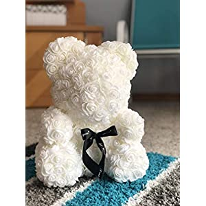 Rose Flower Bear - Fully Assembled 16 inch Hugz Teddy Bear - Over 20 Dozen Artificial Flowers - Best Gift for Mothers Day, Valentines Day, Anniversary, Bridal Showers (White) - w/Clear Gift Box 2