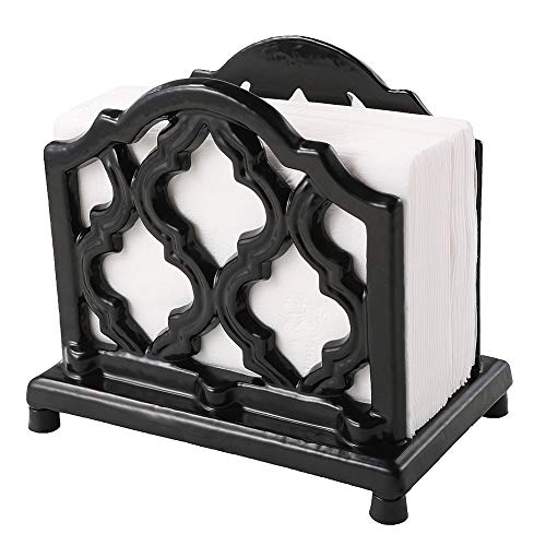 Wrought Iron Napkin Holder - Vintage Metal Napkin Holder Black Cast Iron Napkin Holder Organizer for Kitchen Restaurant Home Decor