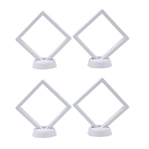 2087 AA Medallion Challenge Coin Chip Floating Display Stand Holder, Clear 3D PET Suspension Jewelry Showcase, Set of 4 (WHITE, 3.5 X (Jewelry Coin Display)