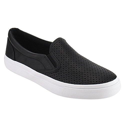 (SODA IF14 Women's Perforated Slip On Elastic Panel Fashion Sneaker Black PU 8)