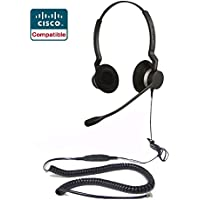 Cisco Compatible Jabra BIZ 2300 Duo Headset Bundle for 6921 6941 6945 6961 7931G 7940 7940G 7941 7941G 7942G 7945 7945G 7960 7960G 7961 7961G 7965G 7970 7970G 7971G 7975G 7985G 8941 8945 8961 9951