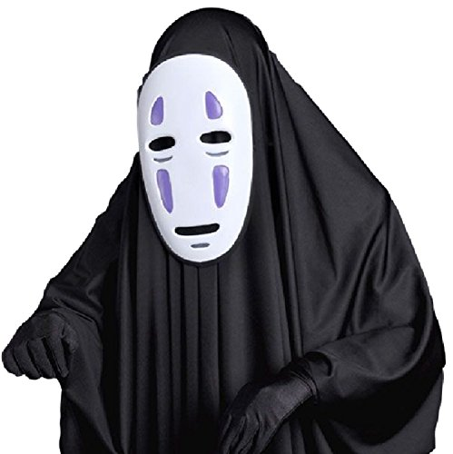 SSJ Spirited Away【Purple Mask+Clothes+Gloves 】No-Face Kaonashi Costume Set (Studio Ghibli Cosplay Costumes)