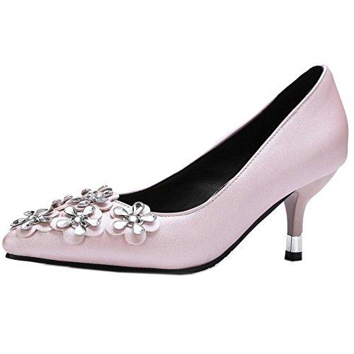 Pointu TAOFFEN Rose A Elegant Kitten Strass Heel Femmes Escarpins Enfiler UffTnwEagx
