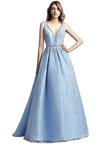 Sarahbridal Women's V Neck Prom Celebrity Dresses Long Tulle Beaded Pearls Evening Ball Gowns Sky Blue ()