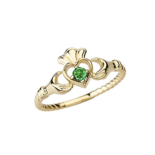 Dainty 14k Yellow Gold Open Heart Solitaire Emerald Rope Claddagh Promise Ring (Size 6.25)