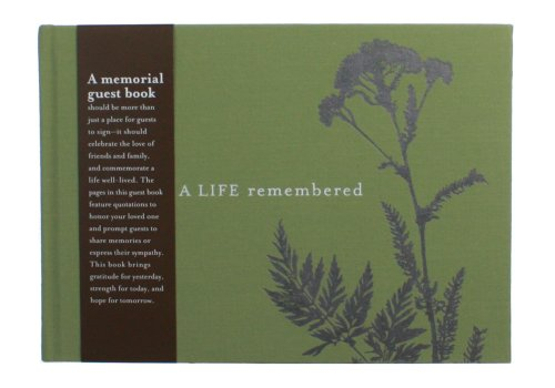 """Remembered Memorial - A Life Remembered, Memorial/Funeral Guest Book - Lined with Prompts 6.75"""" X 9.5"""" X .5"""""""