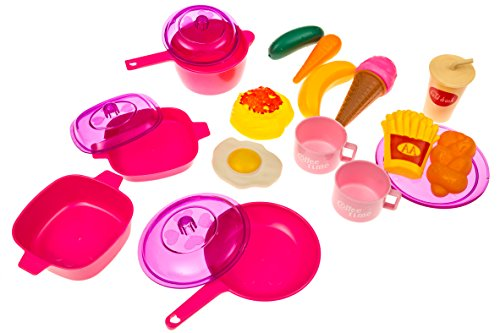 Kids Play Food & Dishes Set: Toy Kitchen Accessories: Plastic Pots, Pans, (Plastic Accessories)