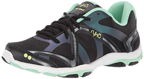 RYKA Women's Influence Cross Training Shoe, Black/Green, 9 M US
