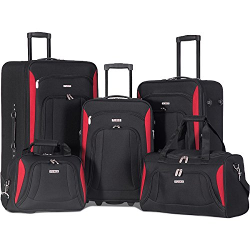 Flieks 5 Piece Luggage Set Deluxe Expandable Rolling Suitcase (Black) (Rolling Expandable Luggage)