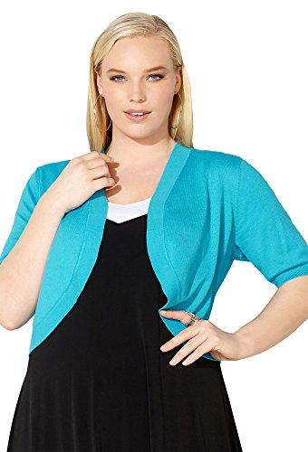 Avenue Women's Ribbed Cocoon Shrug, 22/24 Sky Blue
