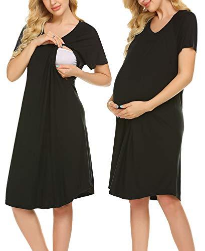 Ekouaer Women Maternity Dress Cotton Nursing/Feeding Nightgown Short Sleeve Nightie Sleep Dress