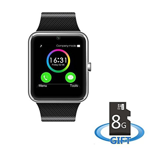 MSRM MS08-Silver Sweatproof Smart Watch Phone for iPhone 5s/6/6s and 4.2 Android or Above SmartPhones Include 8G Micro SD Card (Silver)