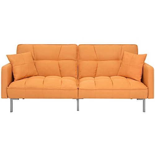 Best Choice Products Home Furniture Convertible Linen Tufted Splitback Futon Couch W/ Pillows (Orange)