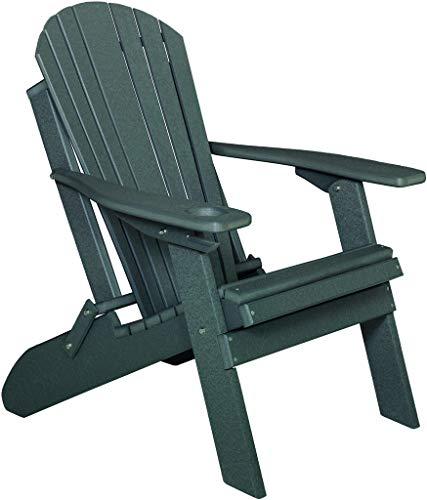 Deluxe Premium Poly Lumber Folding Adirondack Chair w/Cup Holder & Smart Phone Holder - Dark Gray Color ()