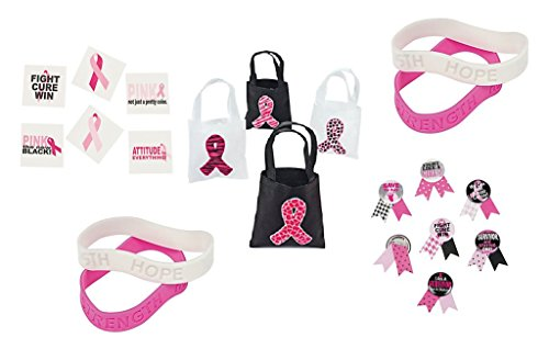 Breast Cancer Awareness Pink Ribbon Pack Fundraiser(12 Mini Pink Ribbon Tote Bags, 24 Lapel Pins, 24 Pink & White Ribbon Rubber Bracelets, 36 Tattoos) Party Favors bundle (Style Bracelet Wave)