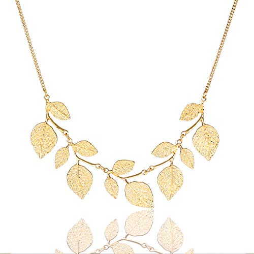 CENAPOG Bohemian Glitter Hammered Leaf Collar Necklace for Women Plant Necklace Chunky Tree Life Choker Necklace Vintage Sparkly Bib Necklace for Wedding Evening Party Fashion Jewelry -