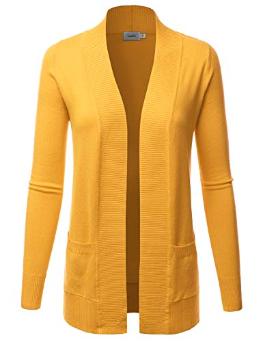 LALABEE Women's Open Front Pockets Knit Long Sleeve Sweater Cardigan-Yellow_B-S -