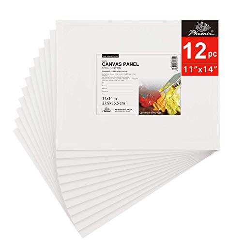 PHOENIX Painting Canvas Panel Boards - 11x14 Inch / 12 Pack - 1/8 Inch Deep Super Value Pack for Oil & Acrylic Paint