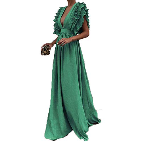 Toimothcn Women Vintage Fly Sleeve Backless Deep V-Neck Long Wedding Evening Party Maxi Dress Plus Size (Green,L) ()