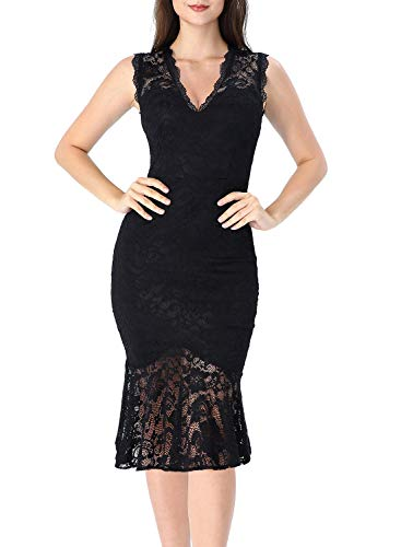 VFSHOW Womens Little Black Floral Lace Elegant Vintage Cocktail Party Bodycon Mermaid Midi Mid-Calf Dress 2865 BLK XXL