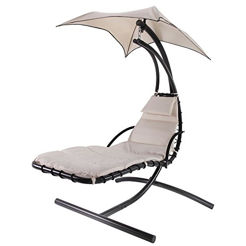 Cheap Palm Springs Outdoor Hanging Chair Recliner Swing Air Chaise Longue (Cream)