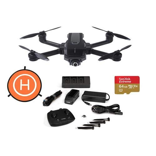 Price comparison product image Yuneec Mantis Q Foldable Camera Drone with WiFi Remote - Bundle with 64GB MicroSDXC U3 Card,  DJI 75cm Protective Fast-fold Drone Landing Pad
