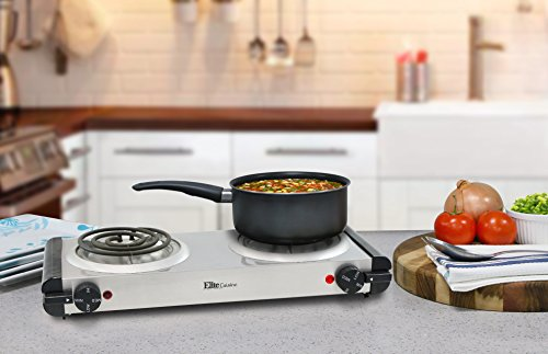 Elite Cuisine Electric Double Coil Burner Hot Plate, Stainless Steel by Maxi-Matic (Image #4)