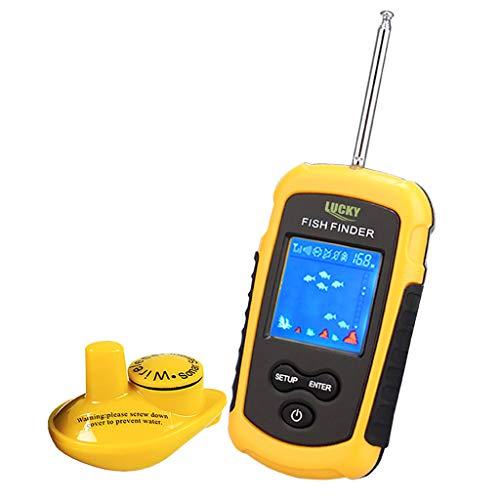 AHAYAKU Finder Depth Finder Sonar Alarm Marine Boat Fishfinder Navigation Tools US detec Yellow