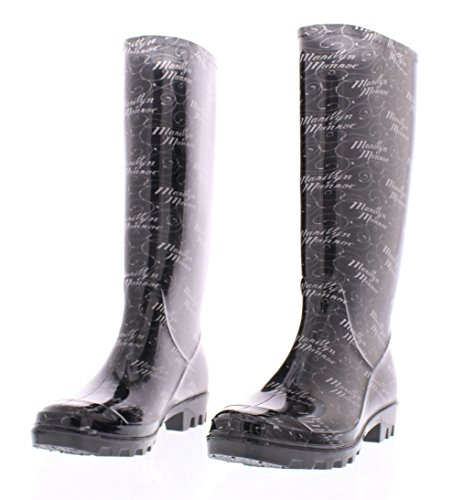 Marilyn Monroe Womens Basic Tall Rainboot Shoes, Waterproof Jelly Rubber Boots Jelly Rubber Boots Black Signature Print