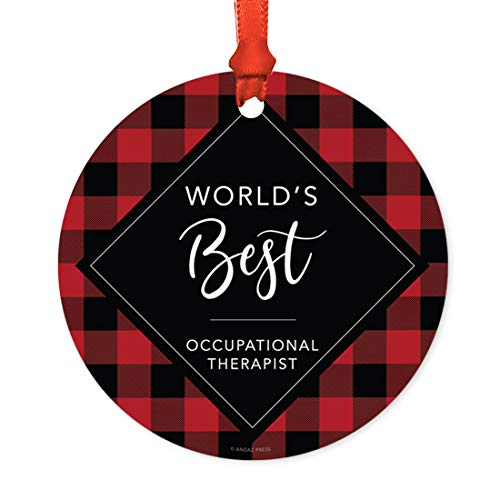 Andaz Press Funny Round Metal Christmas Ornament, World's Best Occupational Therapist, Modern Buffalo Red Black Plaid, 1-Pack, for Coworker Friend Spouse Him Her, Includes Ribbon and Gift Bag (Occupational Christmas Ornaments)