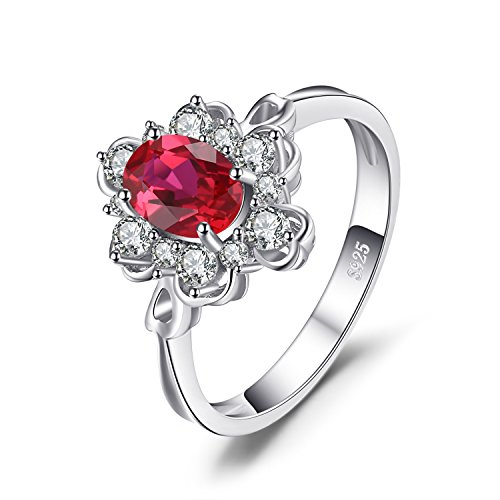 Oval Anniversary Ring Setting (JewelryPalace Elegant 1ct Oval Created Red Ruby Engagement Anniversary Promise Ring 925 Sterling Silver Size 7)