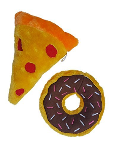 ZippyPaws Slice of Pizza and Chocolate Donut with Squeakers Bundle