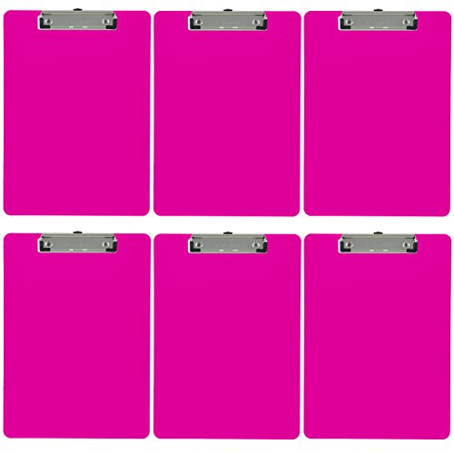 Trade Quest Plastic Clipboard Opaque Color Letter Size Low Profile Clip (Pack of 6) (Pink)