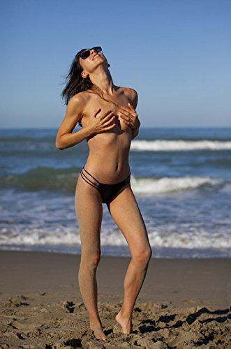Gifts Delight Laminated 24x36 inches Poster: Girl Naked Costume Beach Sea Topless Natural Nude Woman Charm Emotion Beauty People Sexy Elegant Sensual Sensuality Body Young Woman Laying in Shape Bella