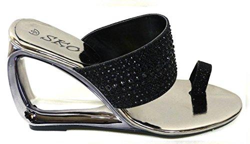 Wedge Mule Größe Schwarz Schuhe 6 On M336 Sandals 4 Toe Slip 7 1 8 Low 5 Damen Damen 3 Diamante Post qCXEEn