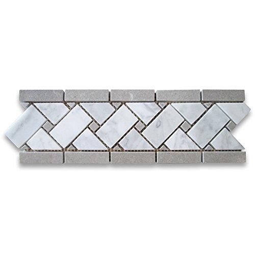 Carrara White Italian Carrera Marble Basketweave Mosaic Border Gray Dots 4 x 12 Polished