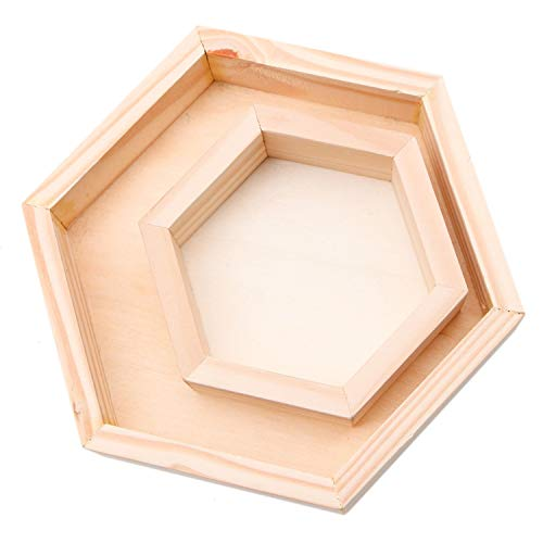 JETEHO 2 Pieces Different Size Natural Wooden Hexagon Vanity Organizer Cosmetic Makeup Storage Tray Unfinished Wood Jewelry Tray, Small + Large -