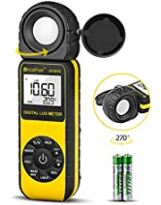 HOLDPEAK HP-881D Digital Light Meter/Illuminance,Sensor Head Rotate 270 Degrees,with MAX/MIN Hold,Backlight,Data Hold & Data Storage,Lux/FC(0.1-400,000 Lux, 1-40,000 FC) Lumen meter for plants and led lights