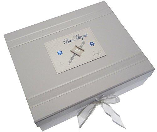 white cotton cards Bar Mitzvah Keepsake Box Jewish Gift (Large, Boys)