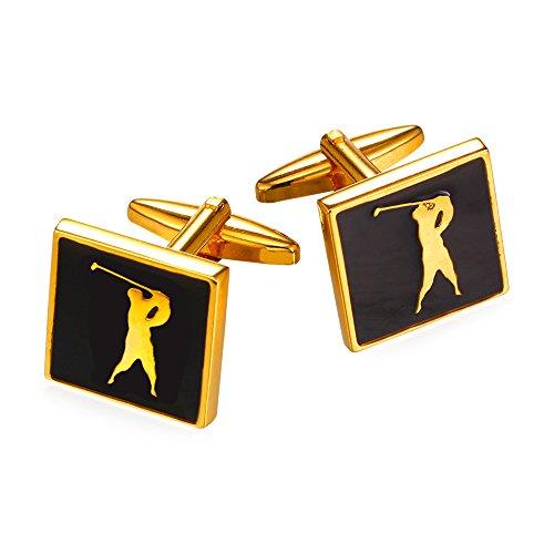 U7 Shirt Cuff Link Golf Man Design Sqaure 2 PCS 1 Pair Set 18K Gold Plated Cufflinks For Shirt